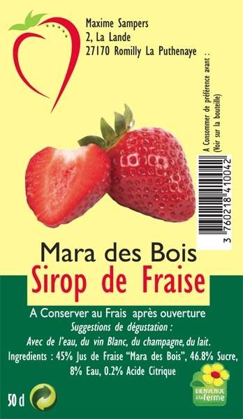 Etiquette sirop de fraises